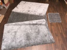 ROMANY WASHABLES 120x160CM XXLARGE SIZE SPARKLY SETS OF 4  MATS GEL BACK GREYS